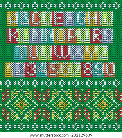 Colorful Alphabet Knitted Seamless Ornament Bright Stock Vector