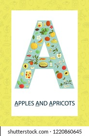 Colorful alphabet letter A. Phonics flashcard. Cute letter A for teaching reading with cartoon style apples and apricots