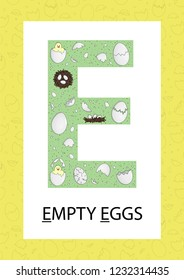 Colorful alphabet letter E. Phonics flashcard. Cute letter E for teaching reading with cartoon style eggs