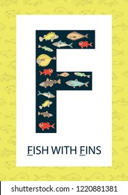 Colorful alphabet letter F. Phonics flashcard. Cute letter F for teaching reading with cartoon style fish