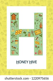 Colorful alphabet letter H. Phonics flashcard. Cute letter H for teaching reading with cartoon style honey, beehive, flowers, hive, bee, bumblebee, insects