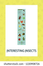 Colorful alphabet letter I. Phonics flashcard. Cute letter I for teaching reading with cartoon style insects
