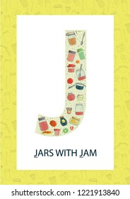 Colorful alphabet letter J. Phonics flashcard. Cute letter J for teaching reading with cartoon style jam jars