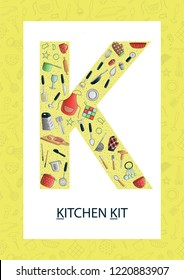 Colorful alphabet letter K. Phonics flashcard. Cute letter K for teaching reading with cartoon style kitchen appliances