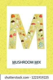 Colorful alphabet letter M. Phonics flashcard. Cute letter M for teaching reading with cartoon style mushrooms
