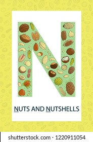 Colorful alphabet letter N. Phonics flashcard. Cute letter N for teaching reading with cartoon style nuts