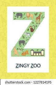 Colorful alphabet letter Z. Phonics flashcard. Cute letter Z for teaching reading with cartoon style zoo, tiger, giraffe, lion, monkey, zebra, elephant, kangaroo