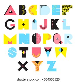 Colorful alphabet in memphis style with textures and ornaments bright geometric elements isolated vector illustration