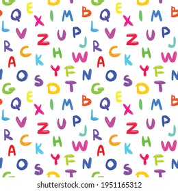 Colorful alphabet - seamless vector pattern with multicolored letters on white background