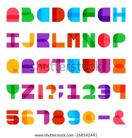 Colorful Alphabet Vector Font Type Letters Stock Vector Royalty