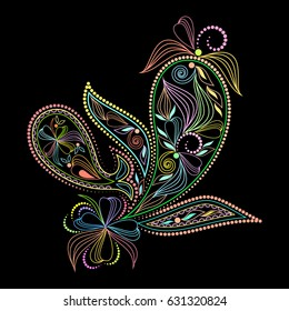 Colorful amazing pattern with paisley and flowers. Traditional ethnic ornament. Object isolated on black background. Vector print.