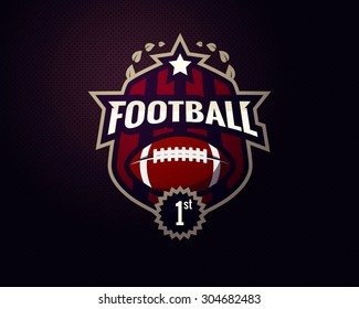 Colorful american football challenge winner logo label with first place sign. Vector abstract isolated illustration