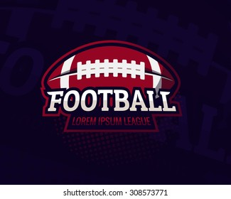Colorful american football sport logo label  on dark background. Vector abstract illustration.
