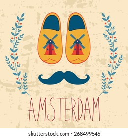 Colorful Amsterdam composition with shoes and mustache