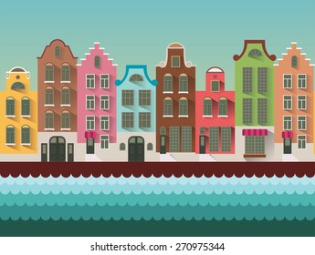Colorful Amsterdam flat streets and channels seamless vector pattern.