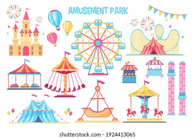 Colorful amusement park flat elements set. Cartoon carnival, circus and funfair carousels isolated on white background vector illustration collection. Fantasy playground entertainment concept