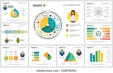 Colorful analysis or statistics concept infographic charts set. Business design elements for presentation slide templates. For corporate report, advertising, leaflet layout and poster design.