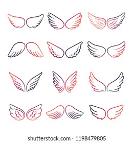 Colorful angels or birds wings line vector set