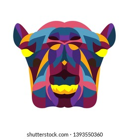 colorful angry camel head pop art vector
