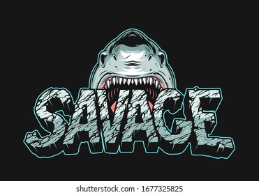 Colorful angry shark holding Savage lettering with cracked dry land texture in vintage style isolated vector illustration