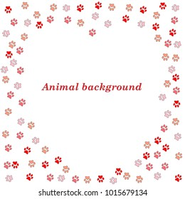 Colorful animal footprint ornament border isolated on white background. Vector illustration for animal design. Frame of cute paw trace.
