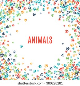 Colorful animal footprint ornament border isolated on white background. Vector illustration for animal design. Random foot prints frame. Many bright trail. Frame of cute paw trace. World wildlife day