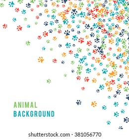 Colorful animal footprint ornament border isolated on white background. Vector illustration for animal design. Random foot prints corner. Many bright trail. Frame of cute paw trace. World wildlife day