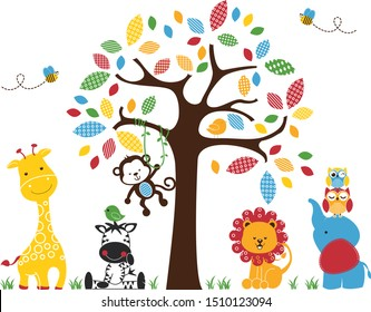 Colorful Animals. For the baby room, nursery room, bedroom, playground. Graphic design lifestyle, vector for print, banner, design, poster, interior, wall decals, sticker.