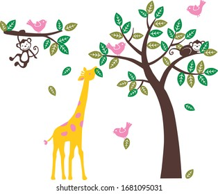 Colorful Animals. For the baby room, playground, nursery room, bedroom. Graphic design lifestyle, vector for cutting, wall decals, interior, vector, design, sticker, decals, decorative