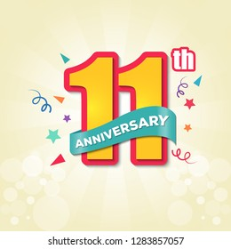 Colorful Anniversary Emblem 11th Anniversary Template Design Vector