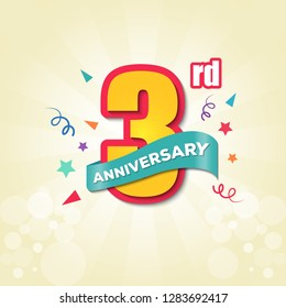 Colorful Anniversary Emblem 3rd Anniversary Template Design Vector