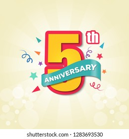 Colorful Anniversary Emblem 5th Anniversary Template Design Vector