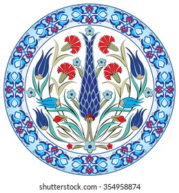 colorful antique ottoman turkish design pattern vector