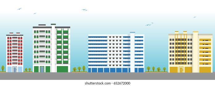 Colorful Apartment Building Exteriors. Vector Illustration