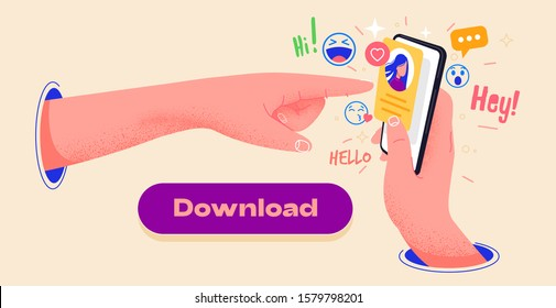 Colorful app design, icons and emoticons on smartphone screen vector illustration. Hand holding phone and pointing to the screen. Editable mockup illustration. Send new message. Send emojis to friends
