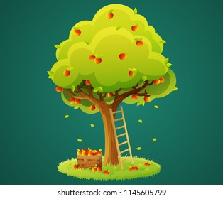 Colorful apple tree with red apples on grass circle isolated on green background. Wooden box of apples and ladder. Vector illustration.