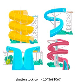 Colorful aquapark isolated set of various plastic water tubes and slides. Outdoor family beach vacation, children water attractions vector illustration. Wonderful summertime, funny relax and activity.