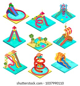 Colorful aquapark isometric 3D elements. Various plastic water tubes and slides in pool. Outdoor funny relax and activity, summertime family vacation, children water attractions vector illustration.
