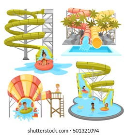 Colorful aquapark set of various water tubes and slides with children in flat style isolated vector illustration