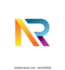 Colorful AR NR Unique Logo For Business. Vector Isolated.
