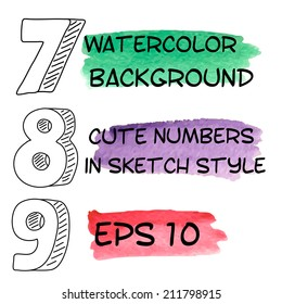 Colorful arabic numbers in sketchnote style made in vector