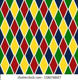 Colorful Argyle Diagonal Decorative Seamless Harlequin Pattern