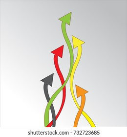 Colorful arrow for finding the way goal of concept design with vector