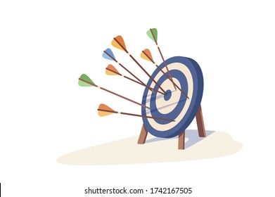 Colorful arrow hitting target mark vector illustration. Multiple arrows exactly into goal of dartboard isolated on white background. Concept of accuracy business strategy, successful and victory