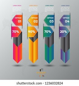 Colorful Arrow infographic concept. Business template with 4 steps, options, parts. Can be used for workflow layout, diagram, chart, step by step infographics, web design. Vector illustration