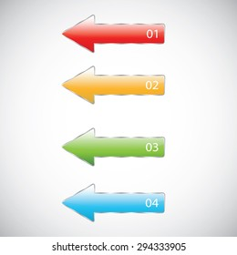 Colorful arrow number options banner. Vector illustration. can be used for workflow layout, diagram, web design, infographics.