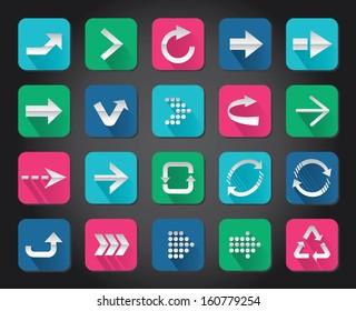 Colorful Arrow sign vector icon set button.