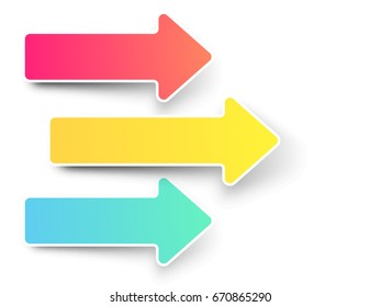 Colorful arrows element on white background.