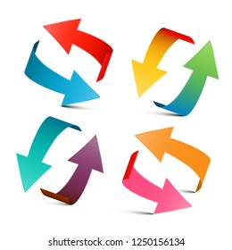 Colorful Arrows Set. Vector 3D Arrow Logo Design.