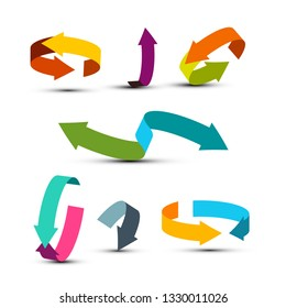 Colorful Arrows Set. Vector Double Arrow Icons. Graphic Arrow Concept for Applications and Web Design or Company Logo.